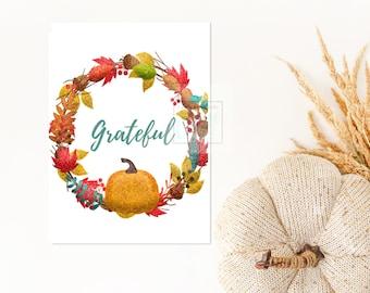 Grateful Digital Card, 8.5x5.5 inch, Thanksgiving Grateful Digital Card, Grateful Card, Thanksgiving Card Digital, Thanksgiving Card