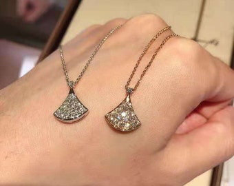 Rose Gold Solid Silver Fan-Shaped Elegant Cubic CZ Necklace 18 inch Cable Chain Lobster Clip w Green Box
