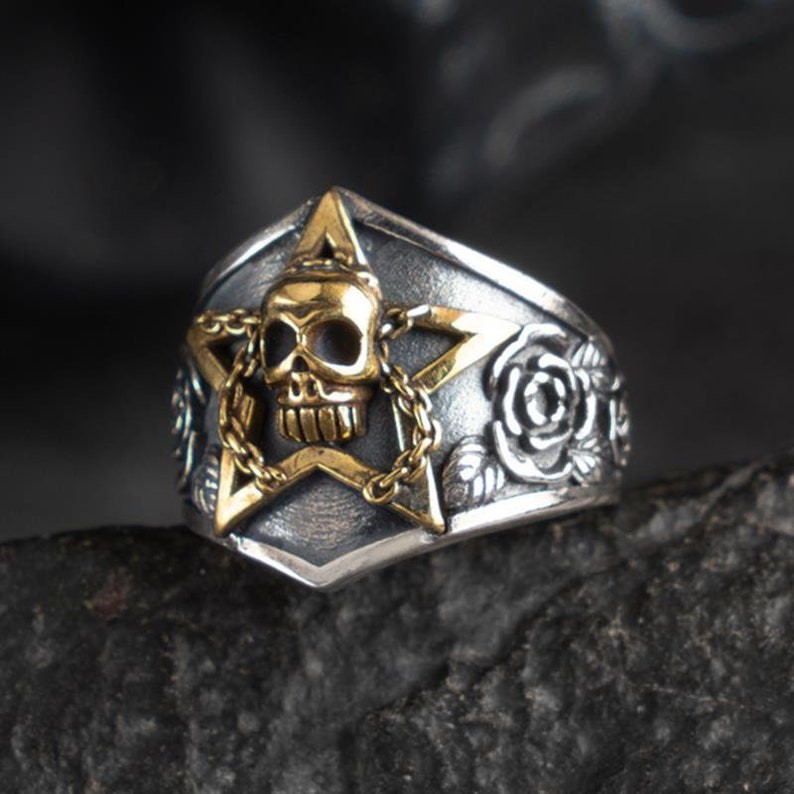 Skull Pentacle Ring Sterling Silver Pentacle Ring-Totem Ring-Pentacle Jewelry-Wiccan Ring-Devil Ring-Silver Pagan Star Ring-Satanism Ring