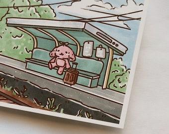train station bunny mini art print