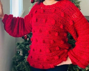 Red Sweater for Women - Balloon Sleeves with Bobbles - Ready to Ship