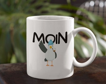 Moin cup - cup moin mug, moin, coffee cup, coffee mug, cup with saying, anchor, seagull, baltic sea, north sea, North German,