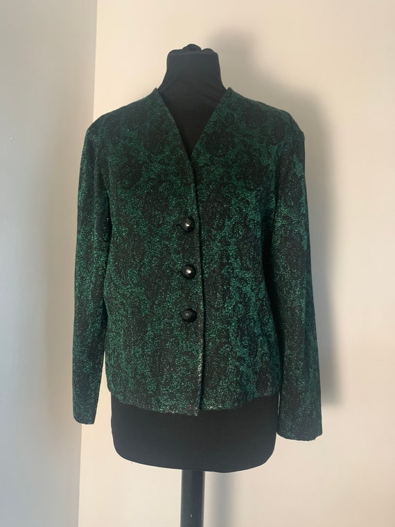 80s Era Vintage Sparkly Green and Gold Short Sleeve Sweater Top in Women/'s Size Large with a 29 inch waist