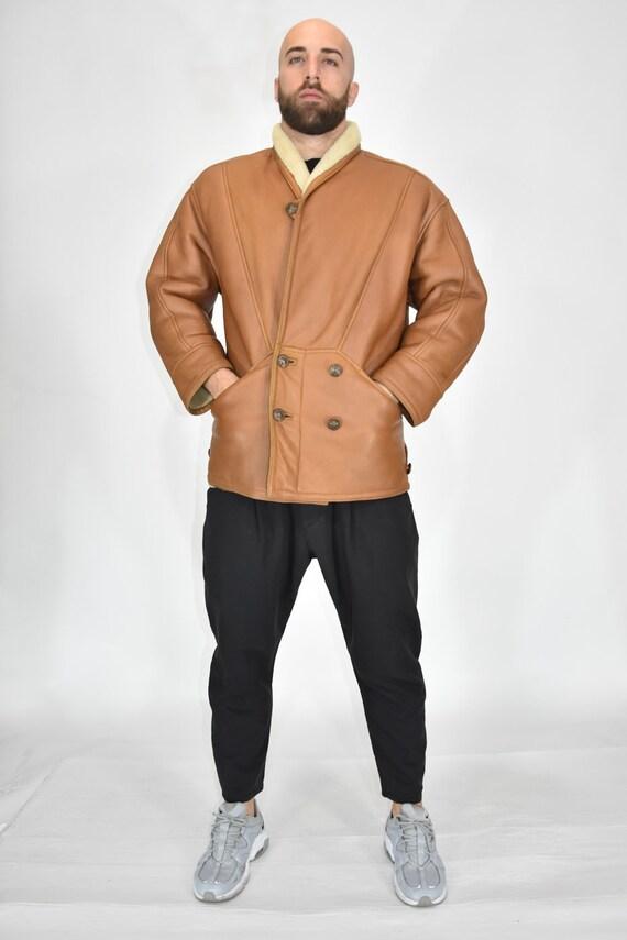 Shearling Orinal Brown Leather Sheepskin Coat Size