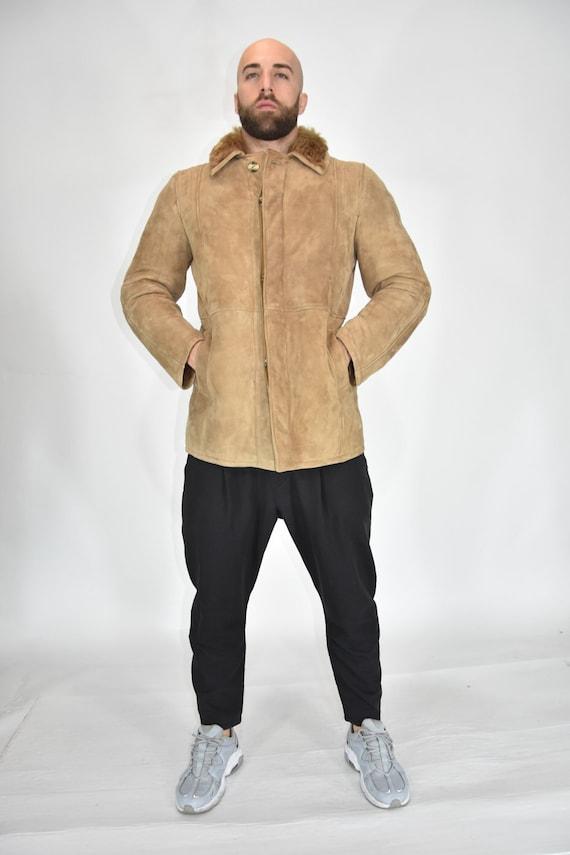 Shearling Original Sheepskin Suede Coat Size XL Ma