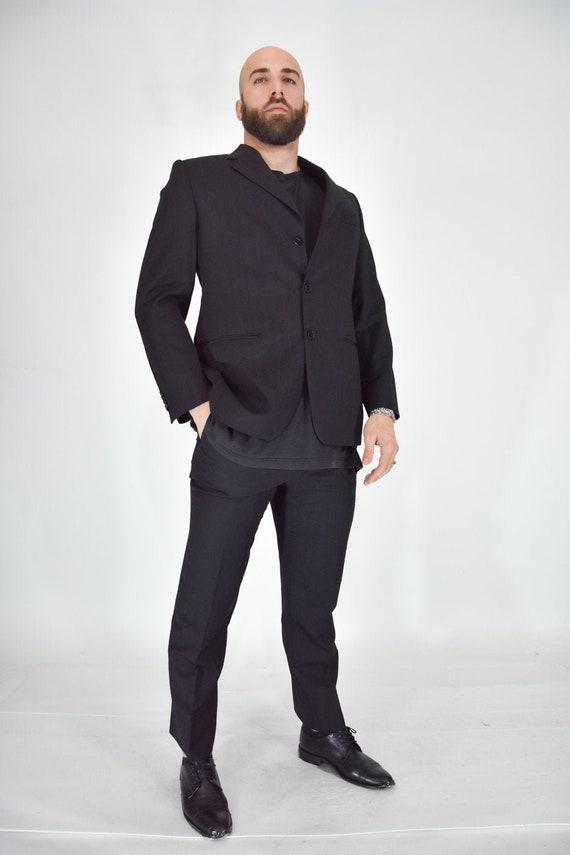 GIANFRANCO FERRE 'Classic Black Smokin Suit In Woo