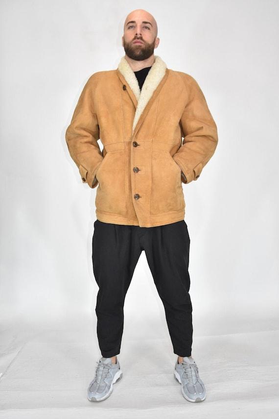 Original Shearling Beige Sheepskin Coat Size L Wom