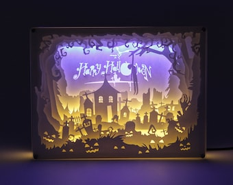 3D Halloween collection Paper carving/Paper cut led light box Night light/Bedroom decor/living room decor