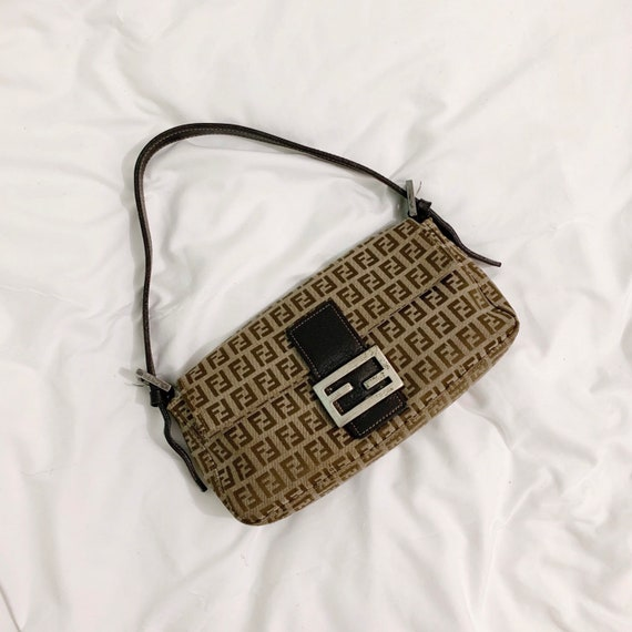 Authentic Vintage Fendi zucca mini baguette bag