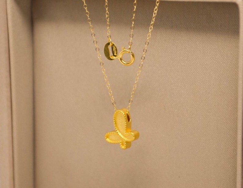 24k solid gold necklace with butterfly pendant and 18k solid gold chain necklace