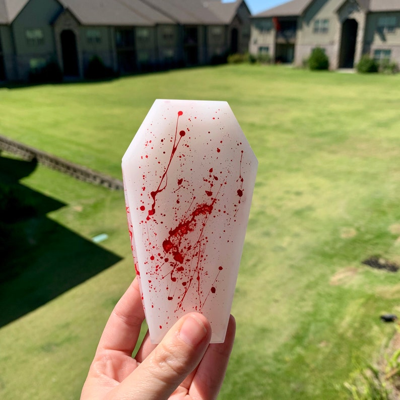 Blood Splatter Jason Friday the 13th Inspired Resin Coffin TrinketJewelryStash Box
