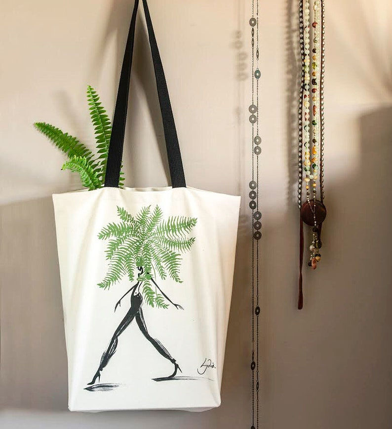 Eco Unbleached Cotton Tote Fashion Tote Bag Gusseted bag Eco-friendly shopping bag Gifts for her Art Lover bag Illustrated Boston Fern