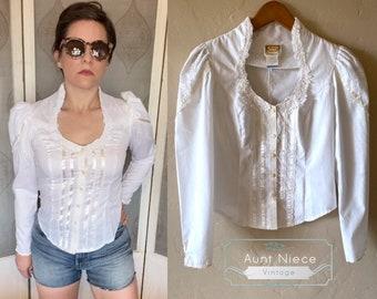 Vintage Jessica Gunnies White lace Prairie Blouse | Vintage Gunnies Sax blouse | Retro Jessica Gunnies Puff sleeve | Bridal shirt