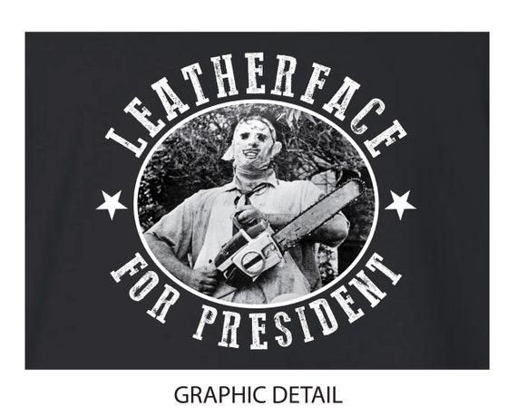 Leatherface For President Fleece Cropped Hoodie Sweatshirt Jumper Texas Chainsaw Massacre Horror Slasher Movie Wear A Skin Face Mask