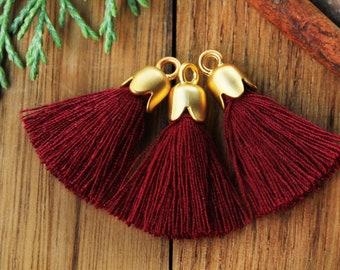 Purple Cotton Tassel with Gold Cap Decorative Tassel 5 pcs  T25TC-72 2.5cm Jewelry Earring Tassel