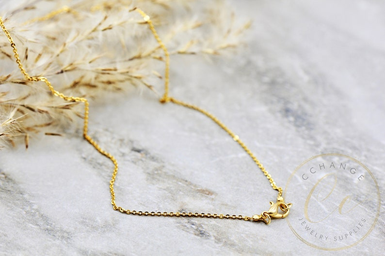 Finished Necklace Chain Gold Plated Brass 1.3mm Cable Chain 14 16 18 20 24 30 34  CHNF-G17