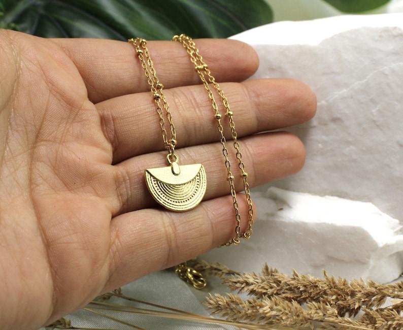 16mm Metal Half Moon Pendant Charm 4 pcs  GPY-536 Gold Plated Aztec Pendant