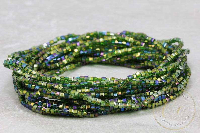 2mm Cube Crystal Bead Bulk Crystal Bead  CBC-18 1 Strand Transparent Green Crystal Bead