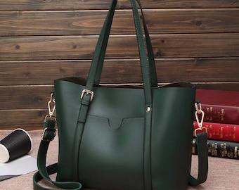 Green Alexa Vegan Leather Office Purse