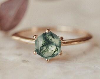 Gemstone Ring Natural Moss Agate Ring Boho Ring Adjustable Ring Women Ring Size - 7.75 USA Gemstone Ring Handmade Ring Stone Ring