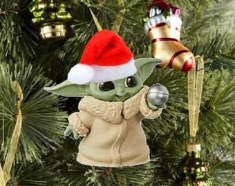 Baby Yoda Santa Christmas Decoration With Santa Hat, Christmas Ornaments, Grogu ,Happy Holidays, 2021 Ornaments Christmas in July