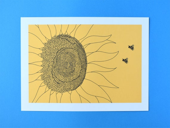 Bees and a Sunflower Art Print – Insect Art Print – Nature Art Print – Unframed A5 and A4 sizes