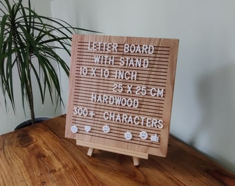 Letter Board With Letters - 100% Oak - Stand Included - Wall Mount - 10x10 inch - 25x25 cm - 300+ Letters, Emojis, Numbers - Message Board