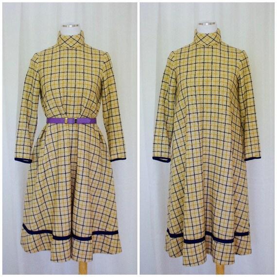 1960s Windowpane Plaid Turtleneck Dress