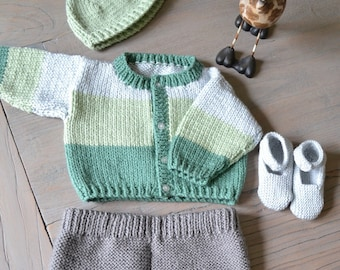 Chunky Green & Grey Hand Knit Baby Outfit age 0-6 months (7-11lbs)