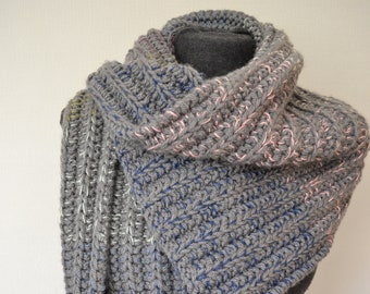 Super Chunky Scarf, Hand Knitted in Grey with flecks of colour, Unisex