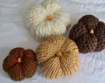 Set of Autumn Pumpkins in shades of Brown, Hand Knitted