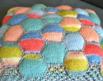 Honeycomb Patchwork Quilted Cushion, hand knitted