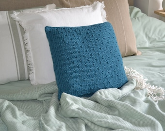 Hand Knitted Teal and Multi Cushion