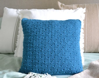 Hand Knitted Teal Cushion