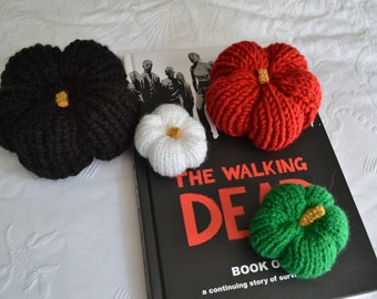 Set of Halloween Pumpkins, Black, Red, Green & White Hand Knitted