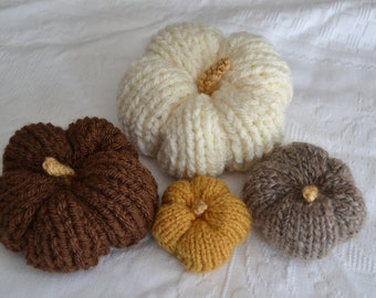 Set of Autumn/Fall Pumpkins in Natural colours, Hand Knitted