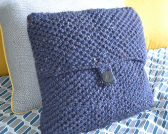 Hand Knit Button Up Cushion Cover in Speckled Blue