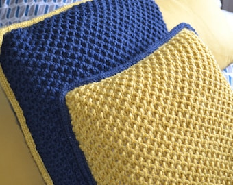 Pair of Navy and Mustard Hand Knitted Cushions
