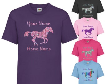 PERSONALISED PRINTED LADIES FITTED T-SHIRT HORSE RIDER PONY EQUESTRIAN GIRLS TOP