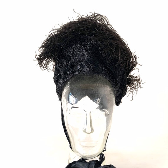 Victorian Mourning Bonnet Hat Ostrich Feather