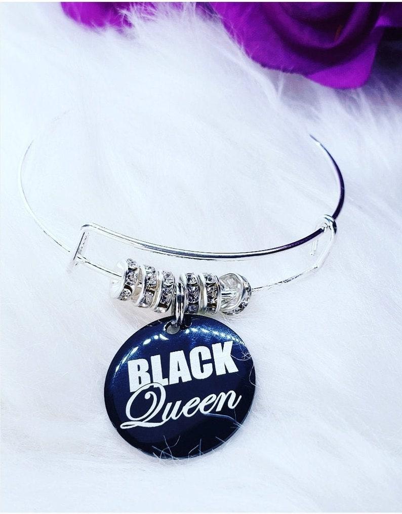 Black queen charm braceletcharm braceletsblack girl magicblack queenblack charmssilver banglesbracelet stacks