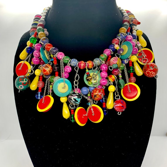 COOL NECKLACE Wooden Statement Necklace Colorful Art Deco Boho Necklace- Mothers day gift FESTIVAL Necklace Rope Chain Necklace