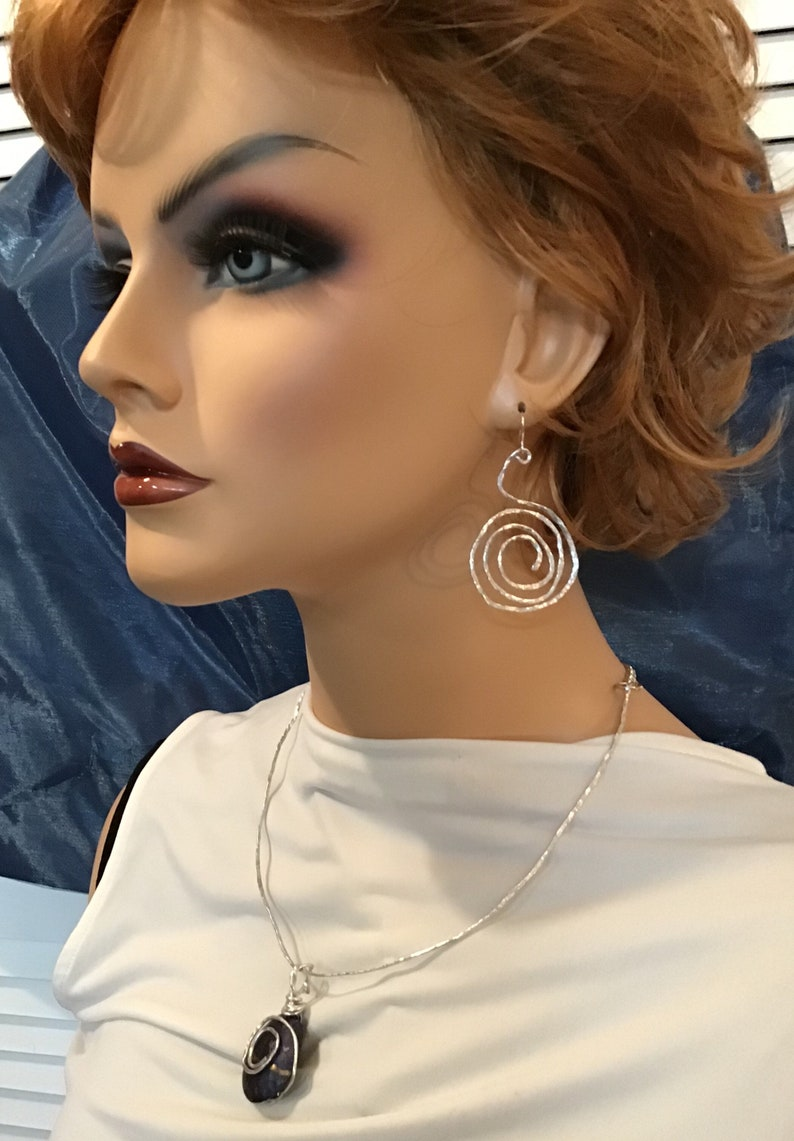 tarnish resistant spiral Hammered silver aluminum wire earrings and necklace set