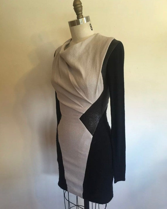 HELMUT LANG Body Con Dress Leather Draped Stretch
