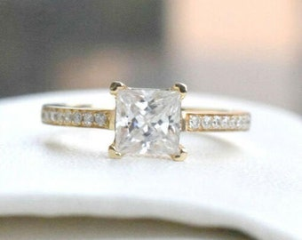 Size Choice Moissanite Engagement Ring Gold Solitaire Ring Diamond Round Brilliant Stacking Ring Plain Band 6 Prong 1.40ct Minimalist