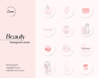 BEAUTY HIGHLIGHT ICONS for Instagram, Beauty and Skincare Instagram Icons, Instagram Highlight Cover, Social Media Icons for Beauty