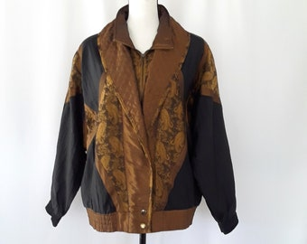 90s windbreaker Sport Mosaic Nylon Autumn Fall Colors Copper brown Gold mustard Jacket Baggy 1990s Sporty Size XL