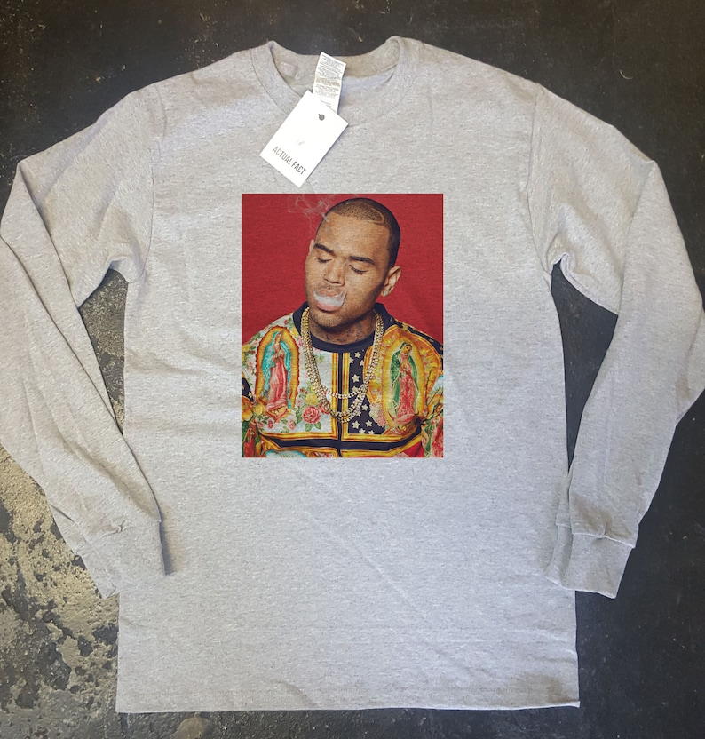 chris brown grey long sleeve customised t shirts all sizes available Graphic Design Tee Novelty T-Shirt Art Design Tee