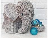 Wicker gray elephant storage basket for flowers and fruits, woven elephant decor basket planter