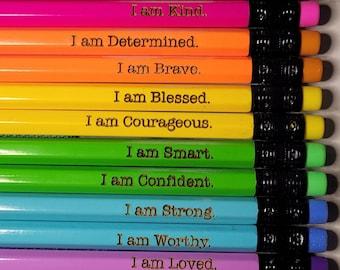 Affirmation Pencils | Positive Pencils | Back To School | School Supplies | Pencils with name | Custom Pencils | Engraved Pencil | I am